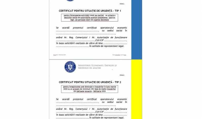 Certificatele de situatie de urgenta pentru operatorii economici certificatele de situatie de urgenta